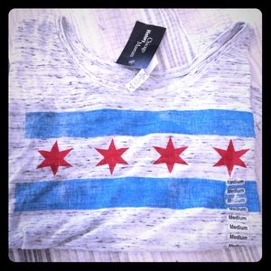 Tops - NWT Cropped tissue paper tee Chicago flag